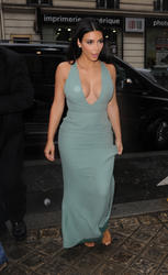 Kim Kardashian - Deep Cleavage Arriving At Valentino Haute Couture Fashion Show in Paris (7/9/14)